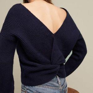 Anthropologie twist low back wool sweater